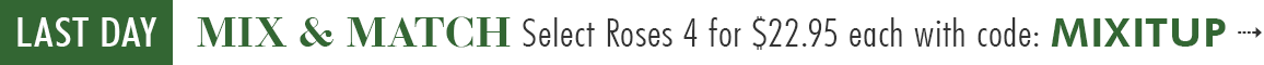 MIX AND MATCH SELECT ROSES 4 FOR $22.95 EACH WITH CODE: MIXITUP