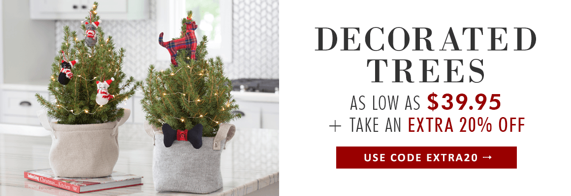 LIVE DECORATED CHRISTMAS TREES Tiny trees for every room, make the perfect gift for anyone on your list - TRIM THE TREE