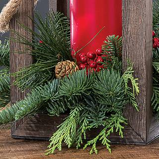 Rustic Holiday Evergreen Lantern