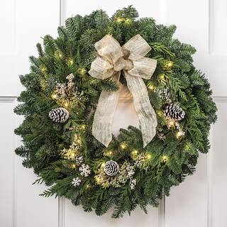 24-inch Snowfall Splendor Evergreen Wreath with Lights