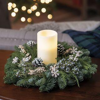 Snowfall Splendor Centerpiece with Candle Image