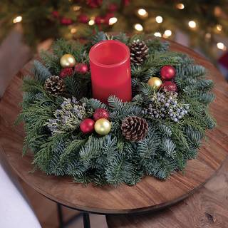 Classic Christmas Centerpiece with Candle Image