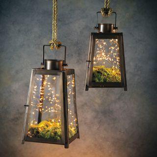 Craftsman Glass Hanging Lantern - Small