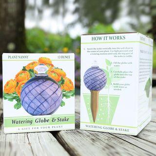 24 oz. Purple Spiral Fluted Watering Globe & Stake Set