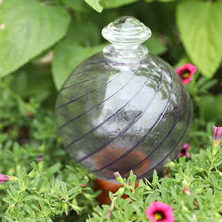 24 oz. Purple Spiral Fluted Watering Globe & Stake Set