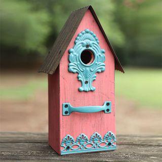 Metal/Wood Birdhouse Pink Image