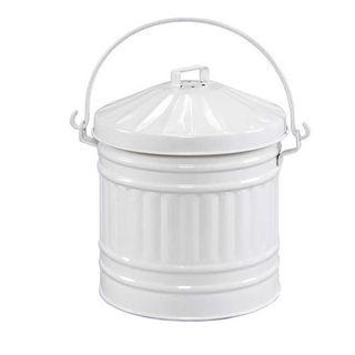 Kitchen Compost Pail - White Enamel