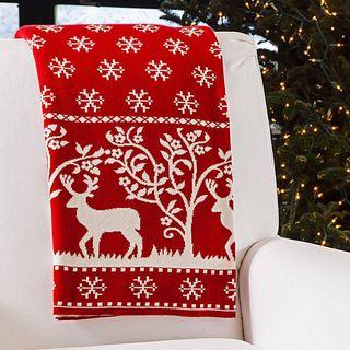 Cotton Reindeer Throw