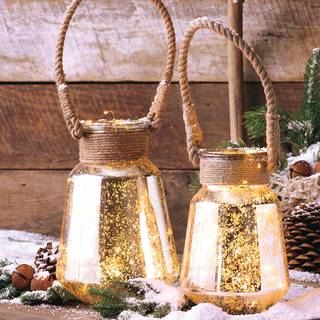 Hurricane Lanterns with Jute Handles - Set of 2