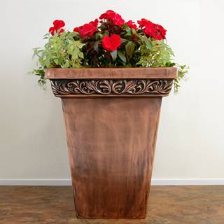 Traditional Copper Foliage Square Planter