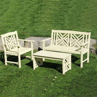 Fretwork Bench and Coffee Table - Antique Ivory
