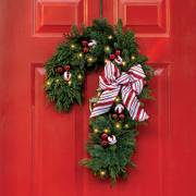 Candy Cane Wreath with Lights