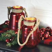 Red Mercury Lanterns with Jute Handles - Set of 2