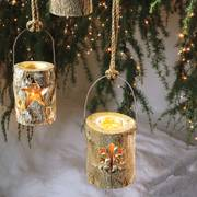 Woodland Log Lantern - Large Snowflake