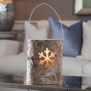 Woodland Log Lantern - Medium Snowflake