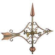 Polished Copper Victorian Arrow Weathervane with Roof Mount