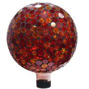 10-inch Mosaic Gazing Ball - Red/Yellow