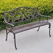 Wisteria Cast-Aluminum Outdoor Bench