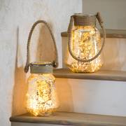 'Mercury Glass' and Jute Lanterns -Set of 2
