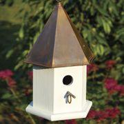 Copper Songbird Bird House - White/Brown Pantina