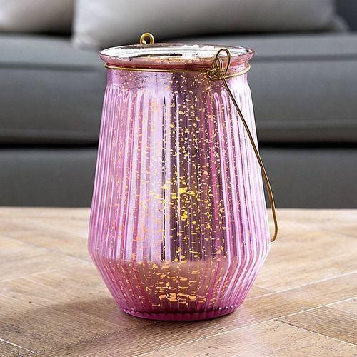 Rosy Glow Mercury Glass Lantern