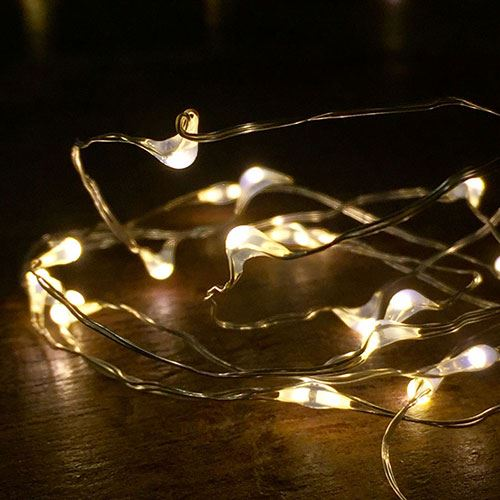 Bubble Lights - White with Silver Wire - Pack of 10