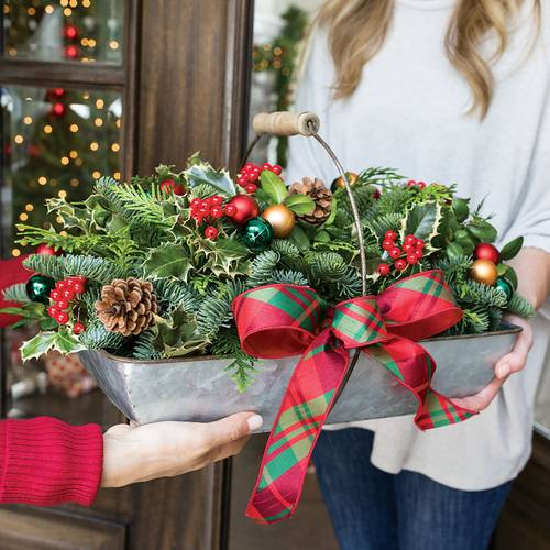 Home For Christmas Trug Centerpiece
