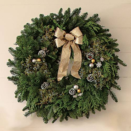 30-inch Snowfall Splendor Evergreen Wreath