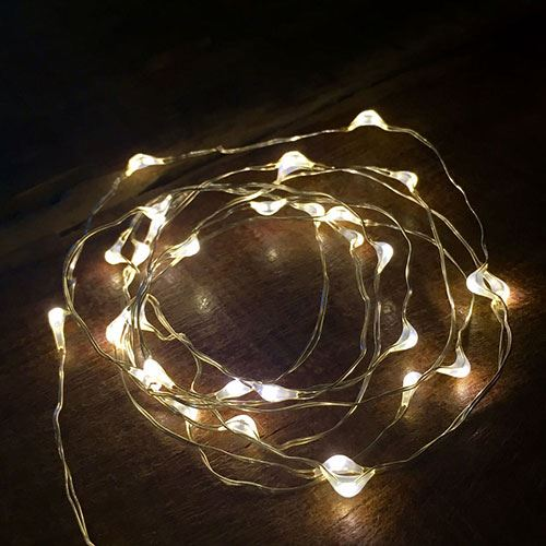 Bubble Lights - White with Silver Wire