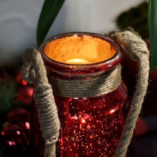 Red Mercury Lanterns w/ Jute Handles