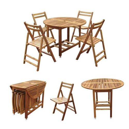 Acacia Folding Table Set with 4 chairs