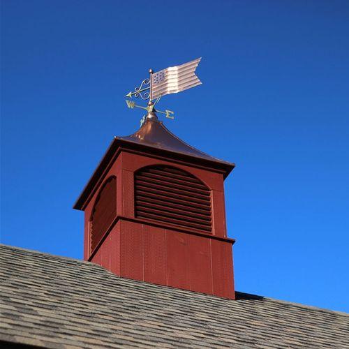 Polished Copper American Flag Weathervane