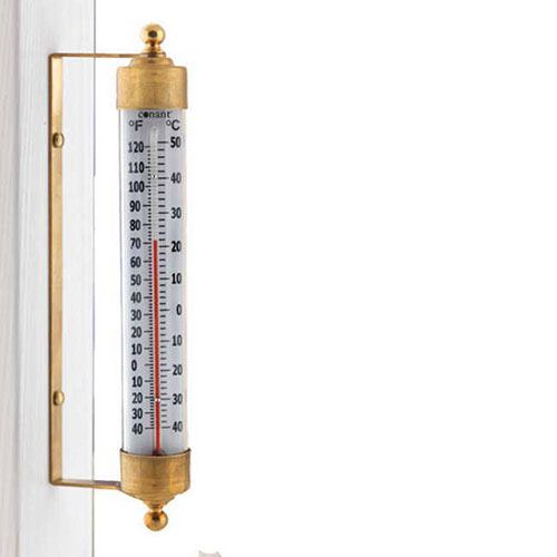 Vermont Outdoor Thermometer Living Finish Brass