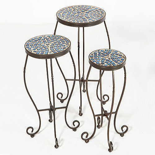 Set of 3 Tremiti Mosaic Plant Stands