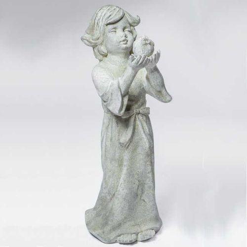 Child Holding Bird Garden Statue