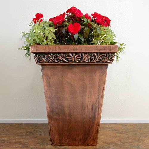 Traditional Copper Foliage Square Planter