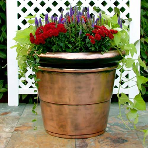 Copper-Plated Rolled Rim Planter  - <b><font color=bb0000>Free Shipping!</font></b>