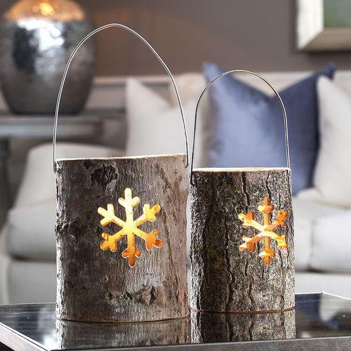 Snowflake Log Lantern
