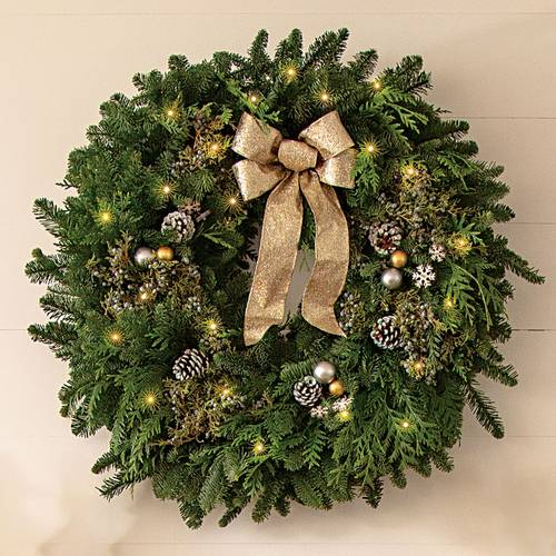 Snowfall Splendor Evergreen Wreath