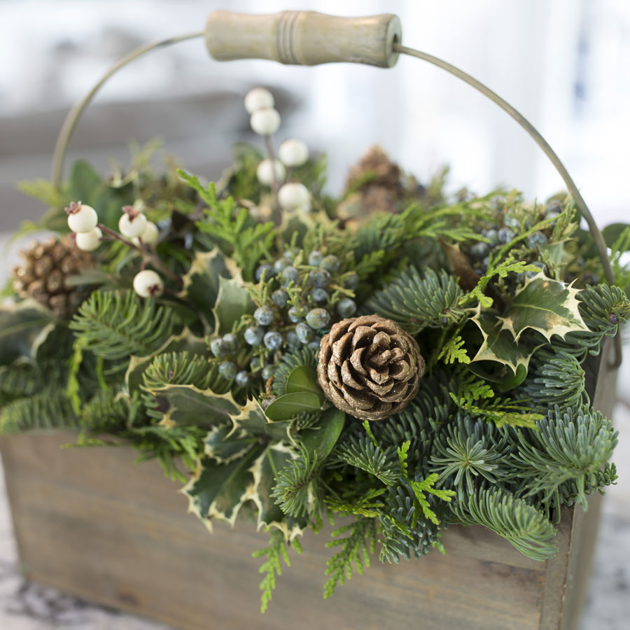 Winter Woods Toolbox Centerpiece