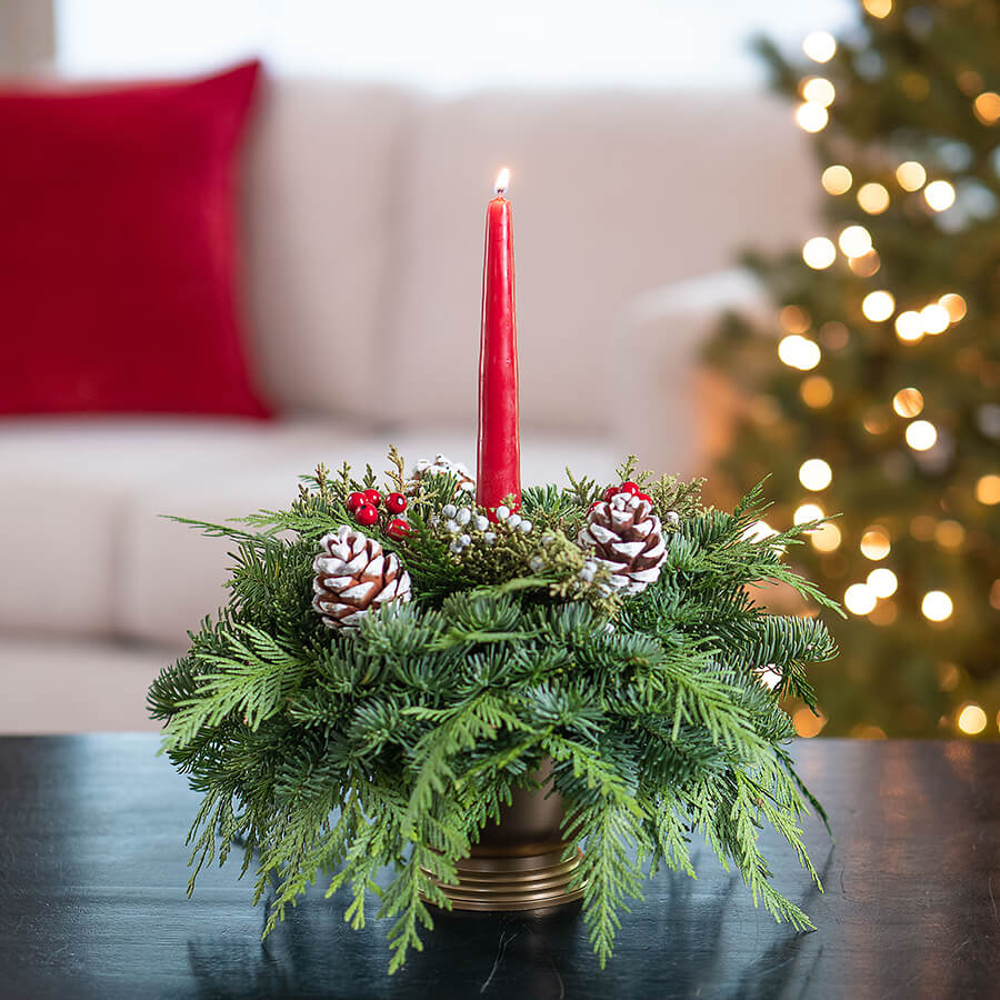 Holiday Glow Centerpiece with Candle Image