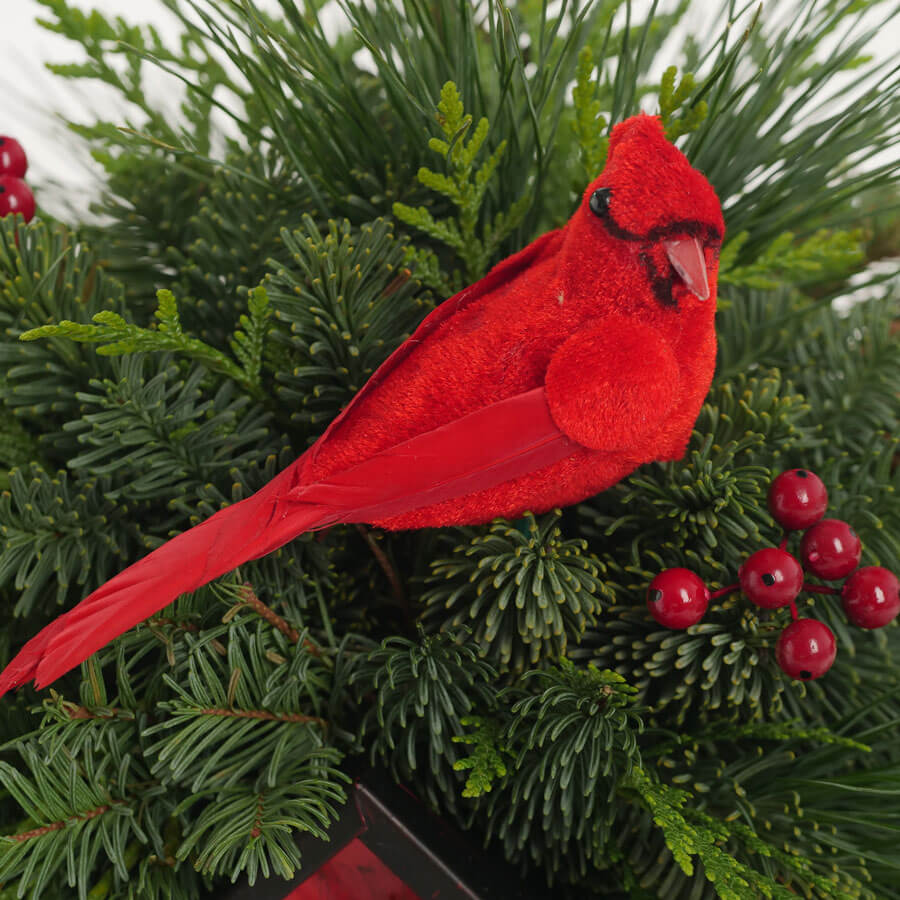 Cardinal & Berry Birdhouse Arrangement