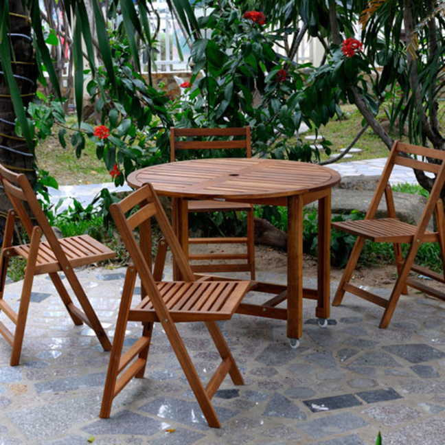 & Acacia Folding Table Set with 4 chairs