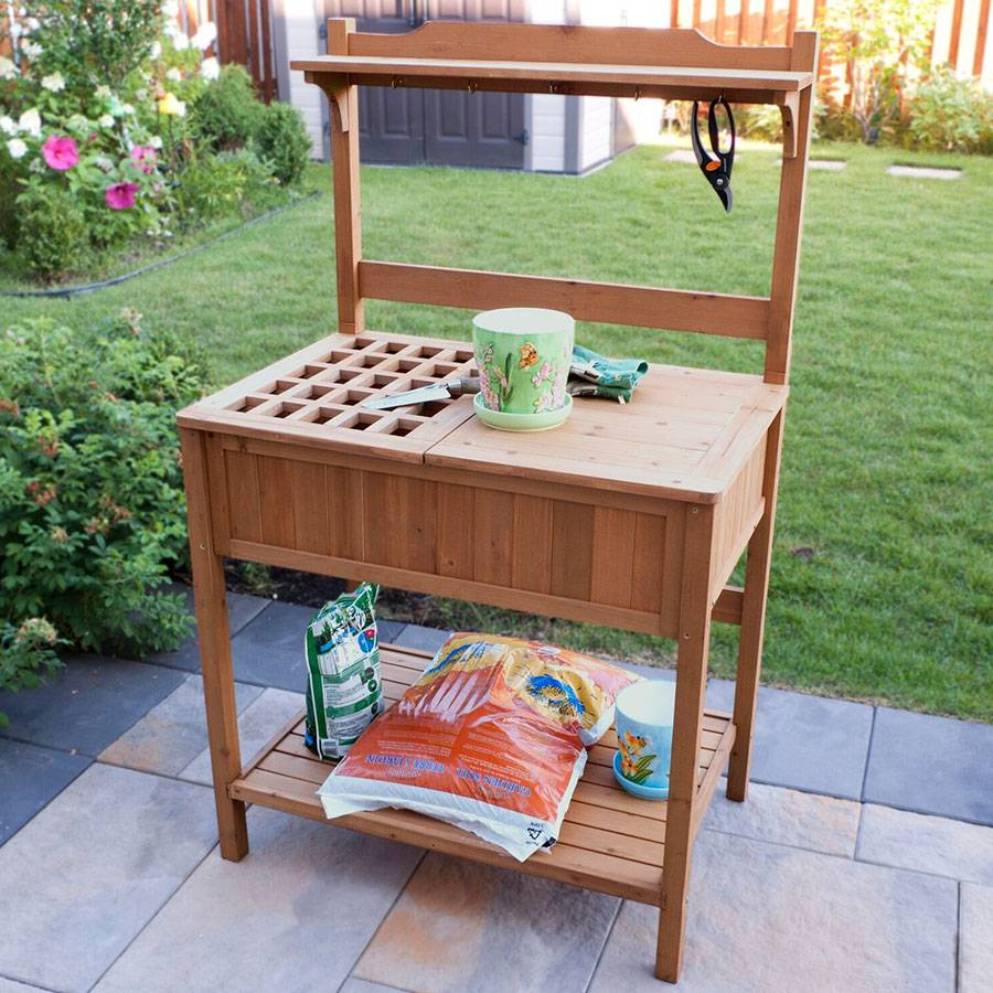 Elegant Wooden Potting Bench
