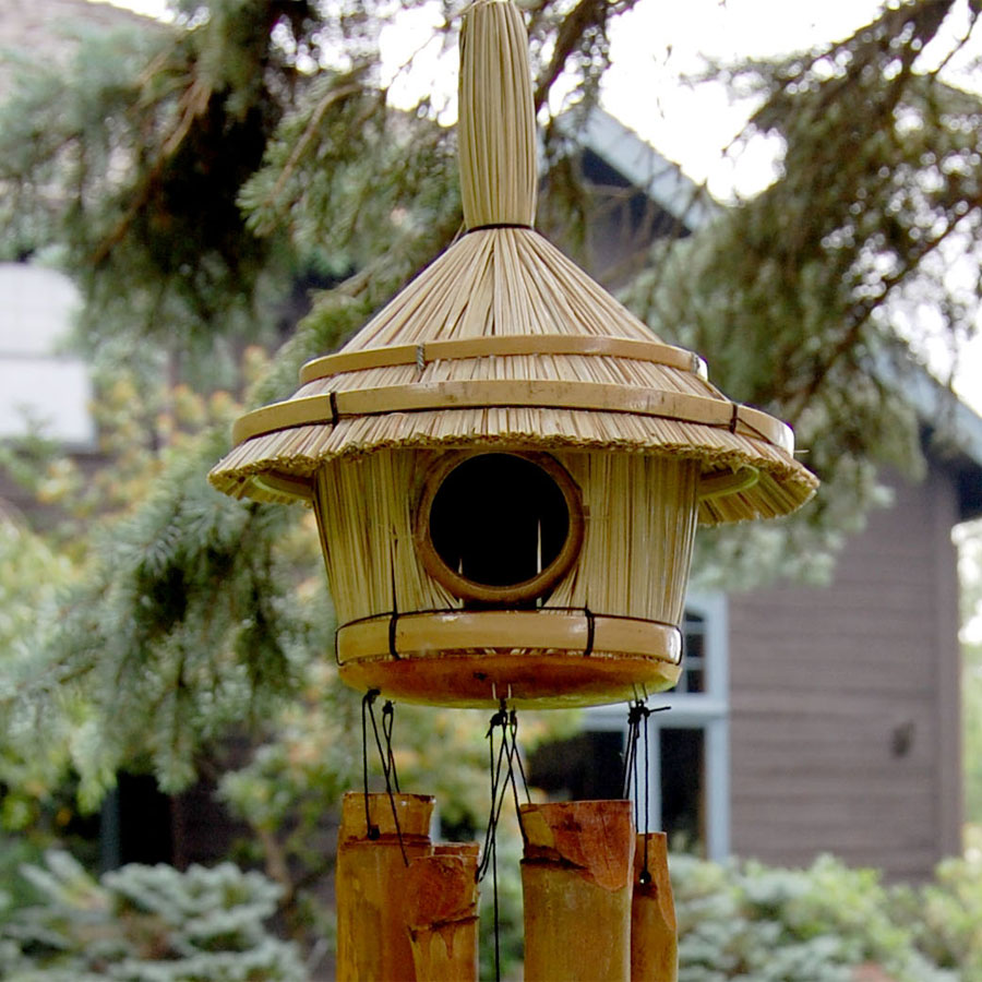 Thatched Roof Birdhouse Wind Chimes