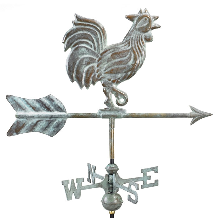 Blue Verde Copper 11 Inch Rooster Weathervane. With Garden Pole Rooster